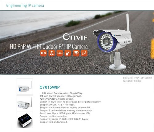 VStarcam C7815WIP HD 720P PnP support ONVIF and triple stream waterproof outdoor wifi p2p ip camera
